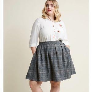 Modclot Brisk-Taker Wool Mini Skirt Grey Plaid